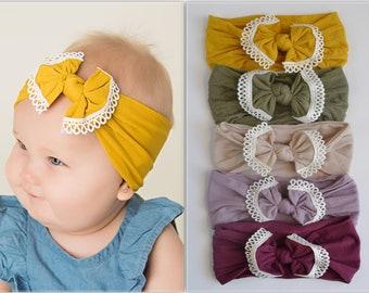 Lace Trim Nylon Baby Headbands, Stretch soft nylon headwraps, baby headband, One size fits all, LACE TRIM BOW nylon head wrap