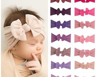 PICK ANY Nylon Baby Headbands, Stretch soft nylon headwraps, baby headband, newborn headbands, infant headband, CLASSIC knot nylon head wrap