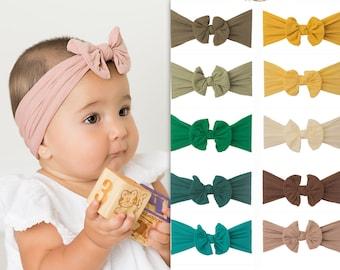 Nylon Baby Headbands, Stretch soft nylon head wraps, Knot bow baby headband, newborn headbands, headwrap, CLASSIC knot nylon head wrap