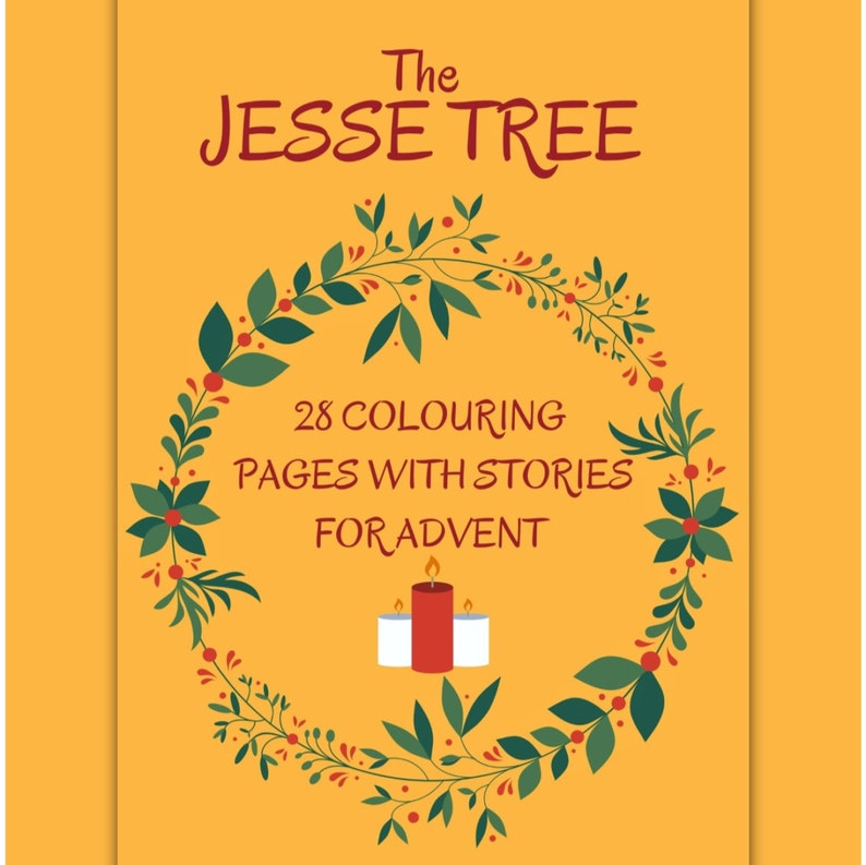 Jesse Tree  28 Colouring Pages with Stories for Advent image 0