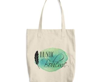 Logo Tote Bag, The Rustic Boheme, Reusable Tote Bag, Eco Friendly, Los Angeles Apparel E549 Bull Denim Woven Cotton Tote
