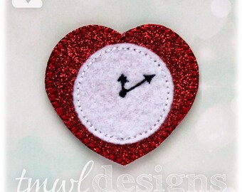 Heart Clock Feltie Digital Design File - 1.75""