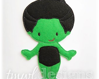 Wicked Witch of the West Felt Paper Doll Toy Digital Design File - 5x7