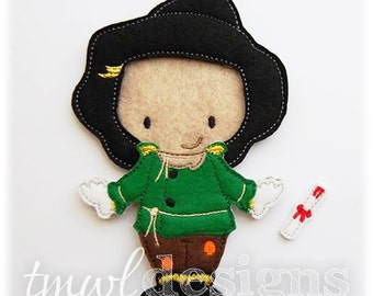 Scarecrow Felt Paper Doll Toy Outfit Digital Design File - 5x7