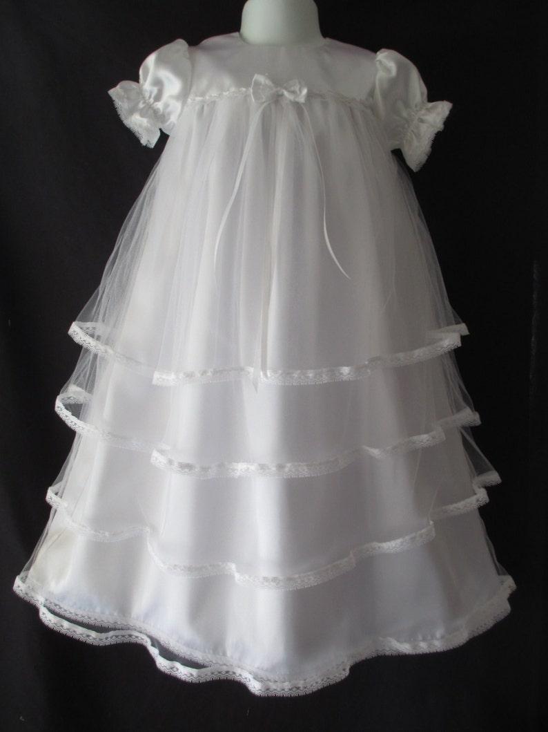 c16001fb5 Baby Girl Satin Tulle Christening Gown Baptism Dress 0-3 3-6 | Etsy