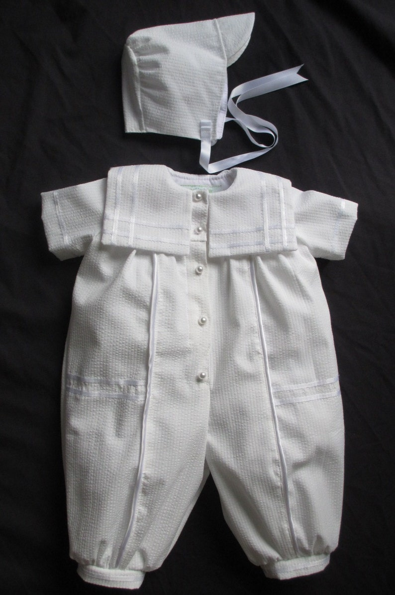 8b5aecfb1d7 Baby Boy Christening Gown  Baptism Outfit Romper Size NB 3 6