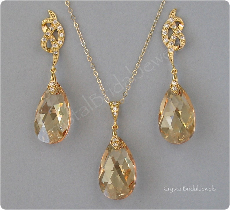 51f0025e118c7 Genuine Swarovski Crystals, Gold Filled Chain, Gold Plated, Necklace and  Earrings, Set, Bridal Set, Bridesmaid Gift, Wedding Jewelry -CB200