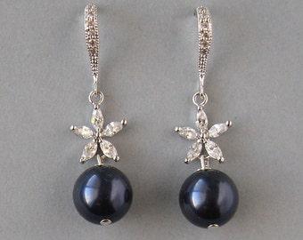 Genuine Swarovski Pearls, Rhodium Plated, Navy Blue Earrings, Earrings with Flower, Blue Earrings, Bridesmaid Gift, Wedding Jewelry - DK499