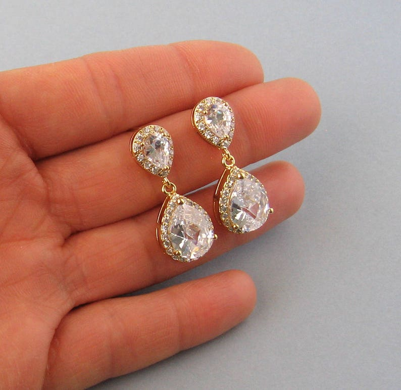 Stud Earrings Bridal Jewelry Yellow Gold Plated Clip Ons CB103 Gold Filled Chain Cubic Zirconia Clear Drop Necklace Bridesmaid Gift