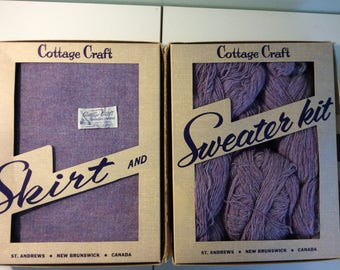 Vintage Cottage Crafts Hand Woven Wool Skirt and Sweater Set