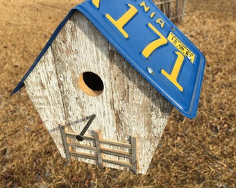 Hanging Birdhouse With License Plate Roof
