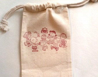 Snoopy and the gang Muslin Bags / Set of 10 / Larger Size 5 x 7 inches