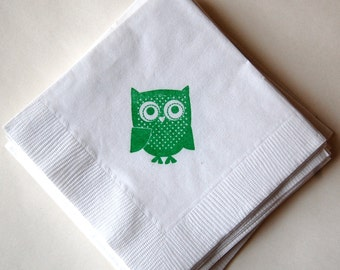 Owl Beverage Napkins / Set of 50 / Baby Shower or Birthday Party
