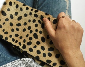 Cheetah print fold down clutch ~ Hair on hide leather