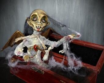 Vampire in the coffin, Dracula Nosferatu OOAK clay doll, dark gothic sculpture, horror decor, Vampire decoration