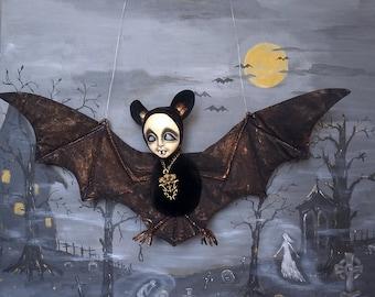 "OOAK art doll ""Bat Kleo""teddy-doll flittermous-rearmouse-flier-flyer-horror doll-Goth doll-vampire bat-ghoul-winged sculpture-necromancer"