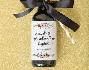 Mini Wine Bottle Labels Bridal Shower Favor Wedding Favors