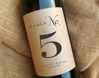 Table Number Wine Labels \\ PERSONALIZED with Name and Date \\ Custom Wedding Centerpiece \\ Kraft or White
