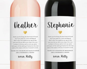 Thank You For Being My Bridesmaid Gift Wine Labels