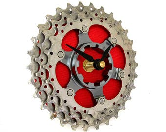 Clock - Recycled Bicycle Gear Clock - Bike Clock - Vibrant Red Clock - Steampunk Clock - Bicycle Clock - Gift for Cyclist - Tour De France
