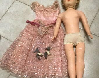 """1950's vinyl doll 28""""s Tall Limbs Bend Original Dress high heels"""
