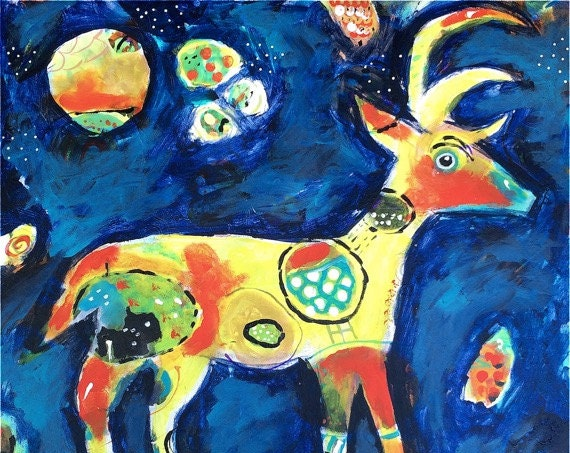 Deer, Deer Artwork, Deer Art, Deer Art Print, Primitive Decor, Spirit Animal, Colorful Art, Colorful Art Print, Colorful Artwork, Reindeer