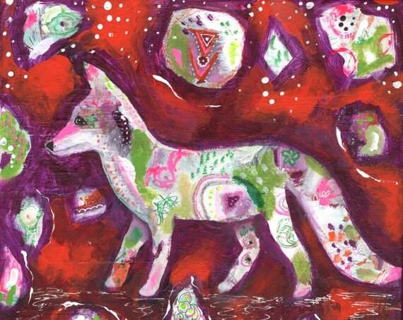 Fox, Fox Artwork, Fox Art, Fox Decor, Primitive Decor, Spirit Animal, Colorful Art, Fox Art Print, Colorful Artwork, Cosmic, Whimsical
