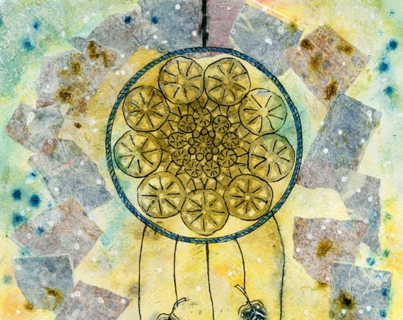 Dreamcatcher, Dream Catcher, Dreamcatcher Art, Dreamcatcher Print, Dream Catcher Art, Dream Catcher Print, Mixed Media Art, Dreamy, Feathers