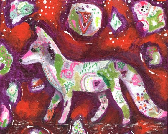Fox, Fox Artwork, Fox Art , Fox Decor, Primitive Decor, Spirit Animal, Colorful Art, Original Painting, Colorful Artwork, Cosmic, Whimsical
