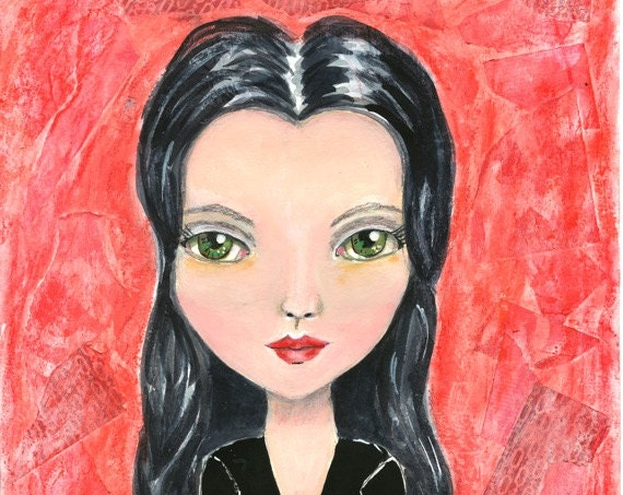 Morticia, Morticia Addams, The Addams Family, Addams Family, Girl Art, Mixed Media, Mixed Media Art, Gothic Art, Whimsical Art, Fan Art