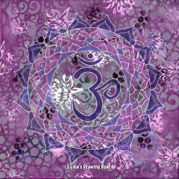 Crown Chakra, Chakra, Chakra Art, Mandala Art, Mandala, Purple Art, Spiritual Art, Yoga Art, Yoga Studio Decor, Sacred Geometry, Yoga, Bliss