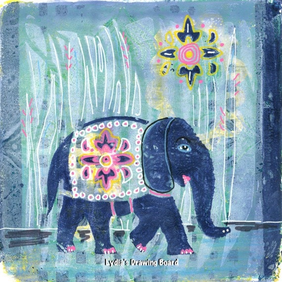 Elephant Art, Bohemian Art Print, Elephant Artwork, Elephant Art Print, Whimsical Art, Art for Kids Room, Kids Room Wall Decor, Elephant