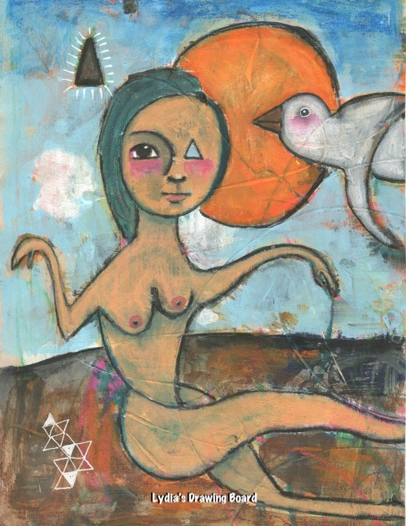 Woman Art Print, Woman Art, Woman Artwork, Mixed Media Art, Fantasy, Spiritual Art, Triangle, Magical Creatures, Magical Art, Mystical Art