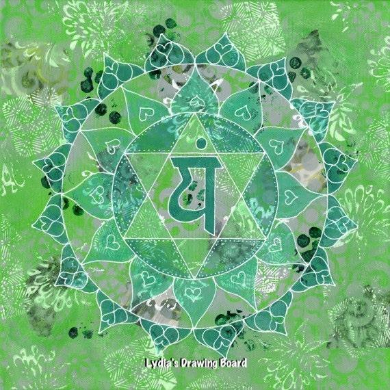 Chakra Art, Mandala Print, Yoga Art Print, Heart Chakra, Chakra, Green Art, Meditation Art, Mandala Art, Spiritual Art, Note Cards, Cards