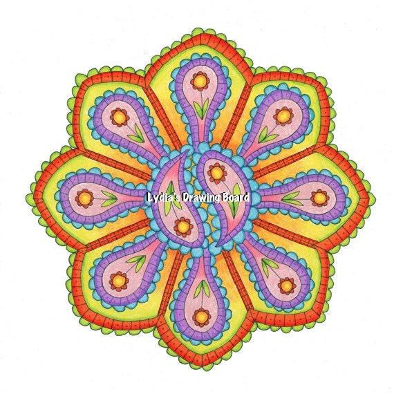 Mandala Art, Mandala Wall Art, Mandala Print, Mandala, Meditation Art, Paisley, Psychedelic Art, Peaceful Art, Hippie Art, Festival, Yoga