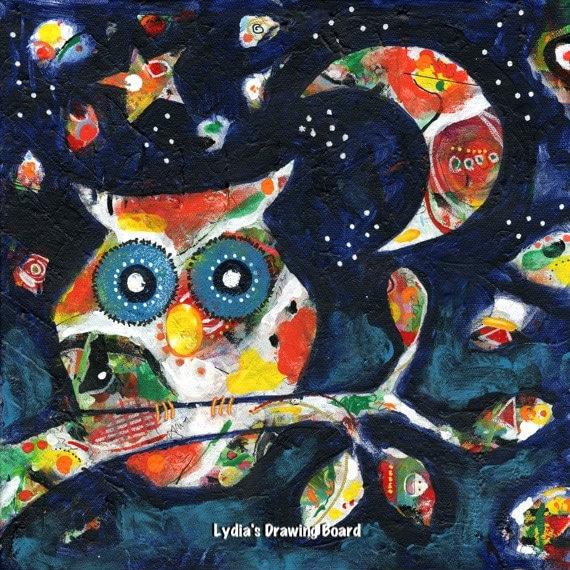 Owl, Owl Artwork, Owl Art , Owl Decor, Primitive Decor, Spirit Animal, Colorful Art, Colorful Art Print, Colorful Artwork, Moon, Whimsical