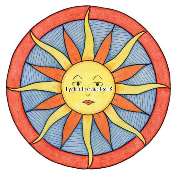 Mandala, Mandala Art, Mandala Wall Art, Mandala Print, Mandala Decor, Sun Art, Solar, Colorful Art, Peaceful Art, Sunshine, Sunshine Art
