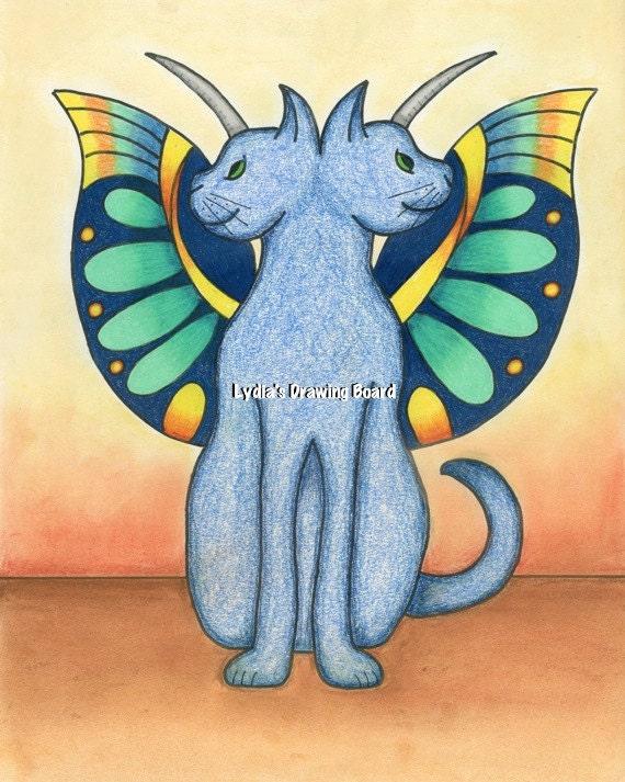 Mythology, Greek Mythology, Cat Art, Cat Artwork, Cat Art Print, Janus, Winged Cat, Whimsical Art, Unicorn, Unicorn Art, Mythical Creature