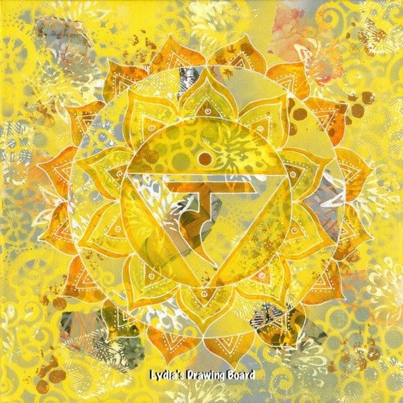 Solar Plexus Chakra, Mandala Wall Art, Yoga Studio Decor, Mandala Print, Yoga Artwork, Collage Art, Mixed Media Collage, Meditation, Chakras