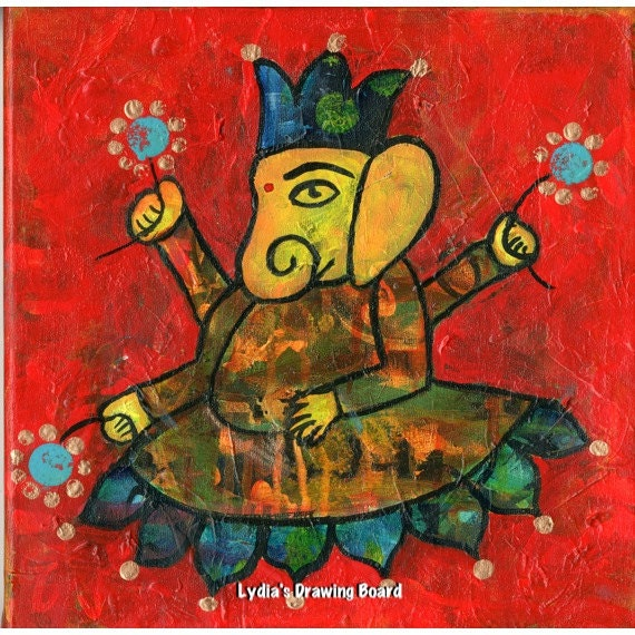 Ganesh, Ganesha, Ganesh Art, Elephant, Hindu Art, Whimsical Art, Hindu Gods, Yoga Art, Yoga Artwork, Yoga Studio Decor, Spiritual Artwork