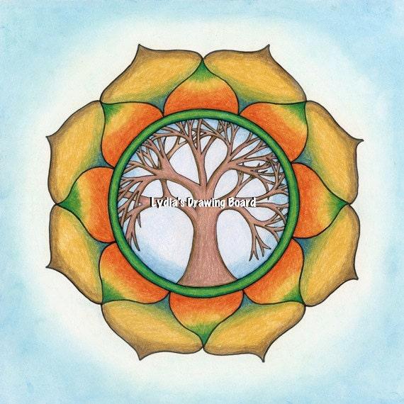 Mandala Art, Mandala Wall Art, Mandala Print, Mandala, Meditation Art, Yoga Studio Decor, Tree of Life, Peaceful Art, Tree of Life Wall Art