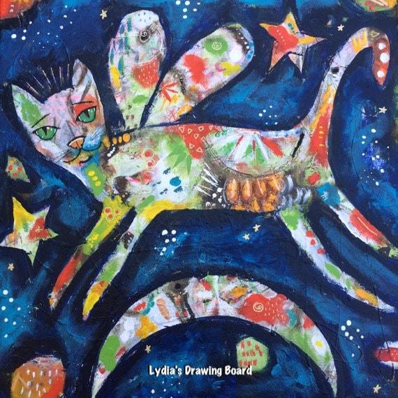 Cat, Cat Artwork, Angel Art, Original Art, Primitive Decor, Spirit Animal, Colorful Art, Colorful Art Print, Colorful Artwork, Angel Artwork