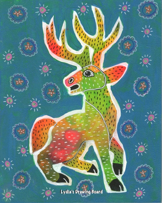 Deer, Deer Art, Deer Art Print, Deer Artwork, Deer Print, Mexican Art, Mexican Folk Art, Animal Art, Animal Artwork, Animal Art Print, Stag