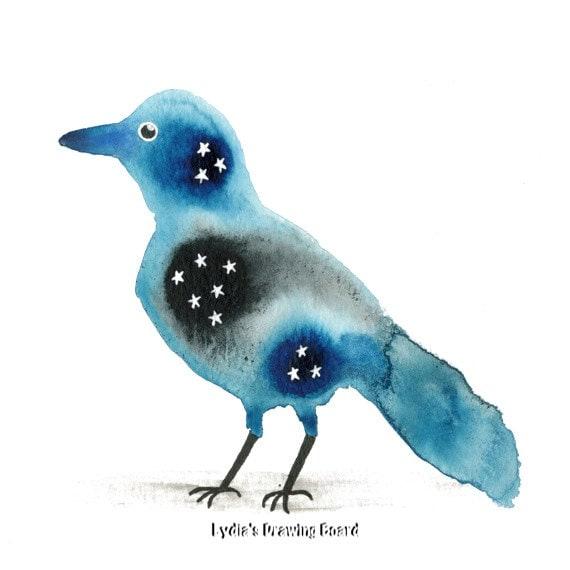 Starling Bird Bird Art Print Bird Artwork Stars Spirit Animal