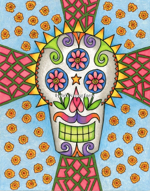 Day of the Dead, Day of the Dead Art, Sugar Skull, Sugar Skull Art, Mexican Art, Mexican Folk Art, Dia de Los Muertos, Skull Decor, Wall Art