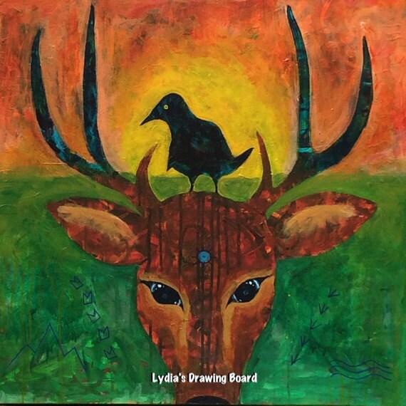 Kindred Spirit Deer Deer Head Crow Crow Art Deer Art Etsy