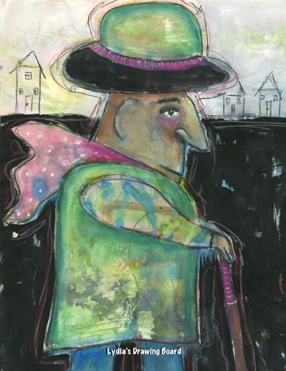 Man Art, Gentleman, Gentleman Art,  Canes and Walking Sticks, Scarf, Mixed Media Art, Whimsical Art, Whimsical Wall Art, Town
