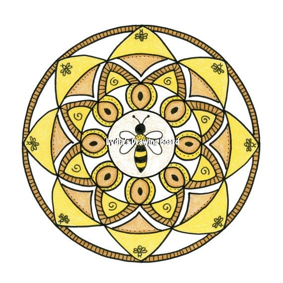 Mandala Art, Mandala Wall Art, Mandala Print, Mandala, Bee, Bee Art, Nature, Nature Art, Endangered Species, Honeybee, Honey Bee Art