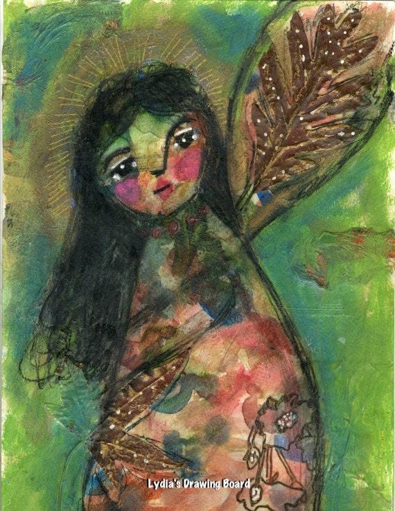 Angel, Angel Art, Angel Print, Peace, Guardian Angel, Mixed Media Art, Mixed Media, Spiritual, Spiritual Art, Autumn Leaves, Fall Leaves