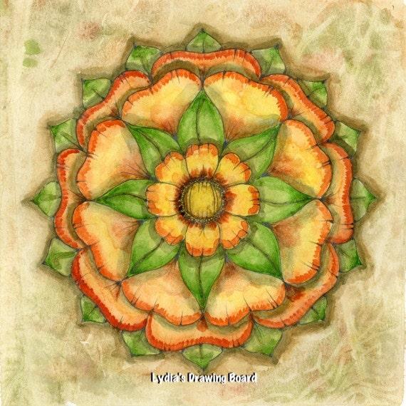 Mandala Art, Mandala Wall Art, Mandala Print, Mandala, Meditation Art, Flower Art Print, Yoga Studio Decor, Peaceful Art, Floral Artwork
